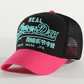 /achat-trucker/superdry-casquette-trucker-premium-goods-outline-noir-rose-208256.html