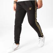 /achat-pantalons-joggings/siksilk-pantalon-jogging-a-bandes-muscle-fit-nylon-panel-15432-noir-dore-208675.html
