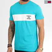 /achat-t-shirts/tommy-hilfiger-jeans-tee-shirt-chest-stripe-logo-7858-turquoise-208668.html
