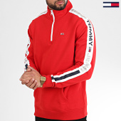 /achat-sweats-col-zippe/tommy-hilfiger-jeans-sweat-col-zippe-a-bandes-tape-zipped-mock-neck-7879-rouge-208672.html