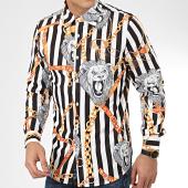 /achat-chemises-manches-longues/john-h-chemise-manches-longues-cy0132-blanc-noir-209421.html