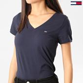 /achat-t-shirts/tommy-jeans-tee-shirt-col-v-femme-stretch-bleu-marine-209740.html
