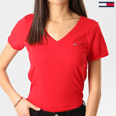 /achat-t-shirts/tommy-jeans-tee-shirt-col-v-femme-stretch-rouge-209741.html