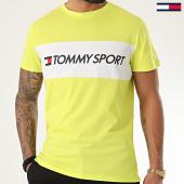 /achat-t-shirts/tommy-sport-tee-shirt-colourblock-logo-jaune-fluo-210004.html
