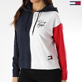 /achat-sweats-zippes-capuche/tommy-hilfiger-sweat-zippe-capuche-femme-tricolore-colorblock-2297-bleu-marine-blanc-rouge-210043.html
