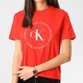 /achat-t-shirts/calvin-klein-jeans-tee-shirt-femme-round-logo-3544-orange-210664.html