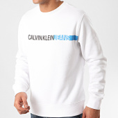 /achat-sweats-col-rond-crewneck/calvin-klein-jeans-sweat-crewneck-stripe-institutional-logo-4871-blanc-212828.html