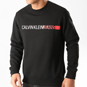 /achat-sweats-col-rond-crewneck/calvin-klein-sweat-crewneck-stripe-institutional-logo-4871-noir-213353.html