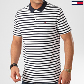 /achat-polos-manches-courtes/tommy-hilfiger-jeans-polo-manches-courtes-tommy-classic-stripe-7799-blanc-bleu-marine-213733.html
