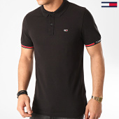 /achat-polos-manches-courtes/tommy-hilfiger-jeans-polo-manches-courtes-detail-rib-7803-noir-213735.html