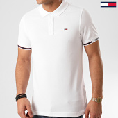 /achat-polos-manches-courtes/tommy-hilfiger-jeans-polo-manches-courtes-detail-rib-7803-blanc-213739.html