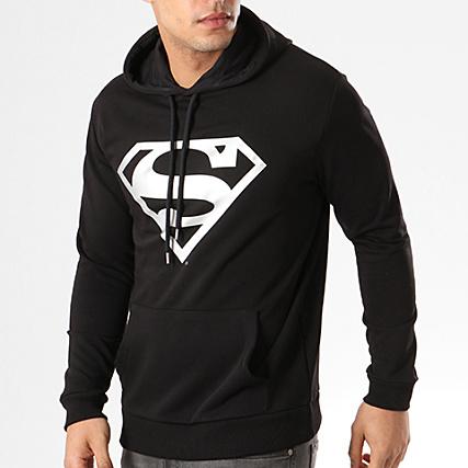 Superman Sweat Capuche Superman Noir Logo Argent