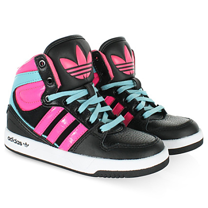 quality discount sale buying new Baskets Adidas Enfant Court Attitude Kid Leather Noir Cyan ...