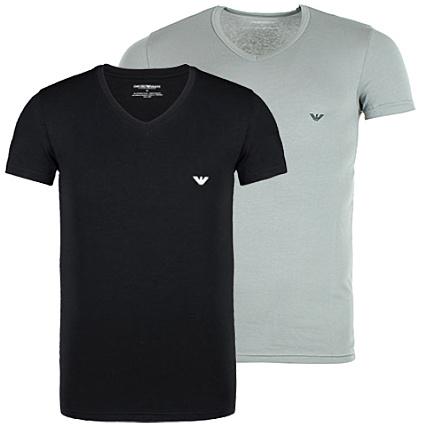 1b1ae123935a Lot De 2 Tee Shirts Emporio Armani V Neck Noir Gris -  LaBoutiqueOfficielle.com