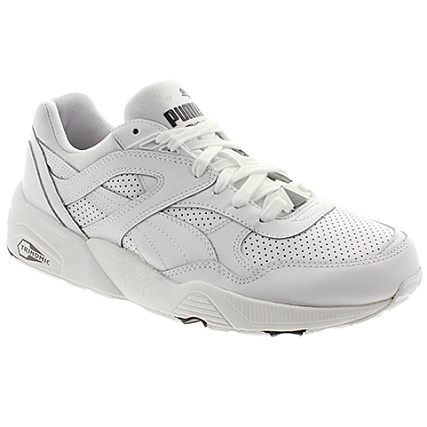 Puma R698 CORE LEATHER Blanc Gris Chaussures Baskets