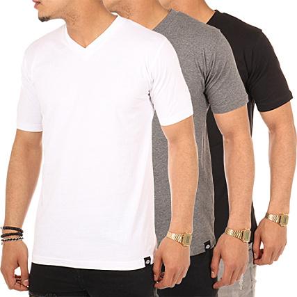 lot de 3 tee shirt col v dickies noir gris blanc. Black Bedroom Furniture Sets. Home Design Ideas