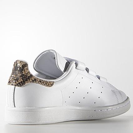 Baskets Femme adidas Stan Smith Blanc Snake Doré ...