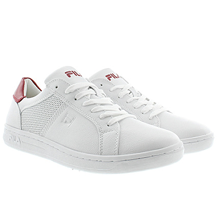 P Rouge Baskets Low Fila Blanc Crosscourt q4L35RAcj