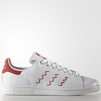 official photos 174ee 5fdab Home  adidas  Baskets - Chaussures  Baskets Basses  adidas - Baskets  Femme Stan Smith Zig Zag Blanc Rouge