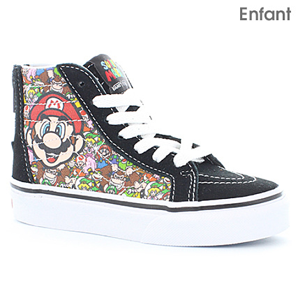 vans - baskets enfant sk8-hi zip nintendo mario and luigi noir