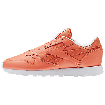 47c1ea23db5 Home   Reebok   Baskets - Chaussures   Baskets Basses   Reebok - Baskets  Femme Classic Leather Seasonal II AR2805 Coral White