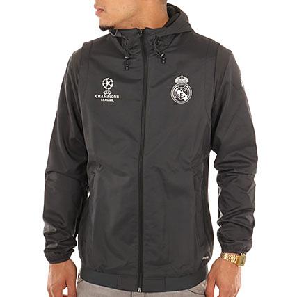 Real Madrid Ao3075 Zippée Adidas Veste Noir Capuche UMVzGLSqp