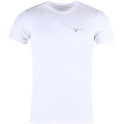 df22a70b9536 Guess - Tee Shirt Col V UMPA21JEL20 Blanc - LaBoutiqueOfficielle.com