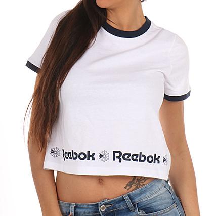 Shirt Crop Femme Starcrest Hem Reebok Blanc Tee wOZnPN8kX0