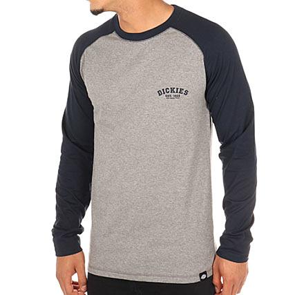 3bc9b34a43d8 Dickies - Tee Shirt Manches Longues Baseball Gris Chiné Bleu Marine -  LaBoutiqueOfficielle.com