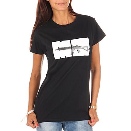 Shirt Mz Femme Tee Noir Mitraillette OP8nk0w
