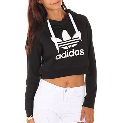 Capuche Adidas Bp9478 Sweat Crop Femme Noir Trefoil dxhCostQrB
