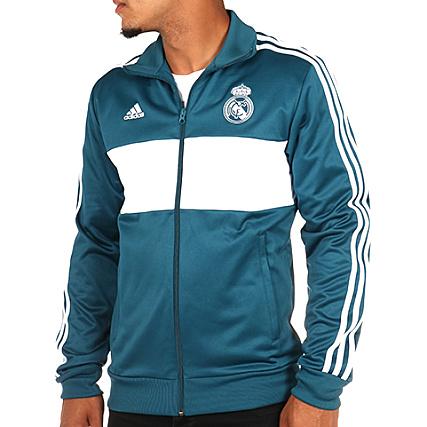 09616db19e adidas real madrid jacket veste bleu blanc