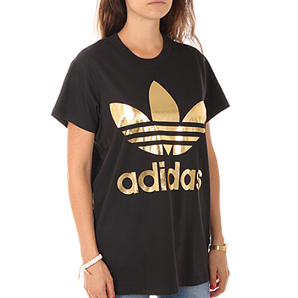 t shirt adidas noir et dore