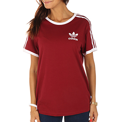 discount sale good looking check out adidas - Tee Shirt Femme 3 Stripes BP9507 Bordeaux ...