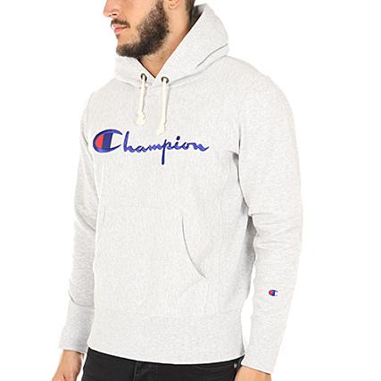 25e786a2e3e7 Champion - Sweat Capuche 210967 Gris Chiné - LaBoutiqueOfficielle.com
