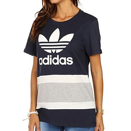 adidas Tee Shirt Femme BF Trefoil BS4366 Bleu Marine Gris