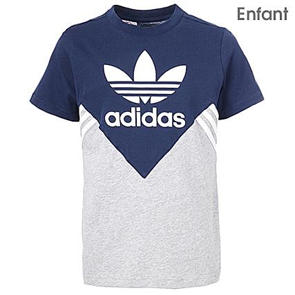 276689fba31e6 adidas - Tee Shirt Enfant FL CE1082 Bleu Marine Gris Chiné -  LaBoutiqueOfficielle.com