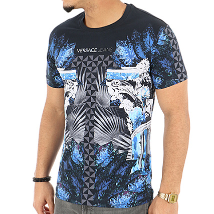 Versace Jeans - Tee Shirt Print 4 Noir Bleu Marine -  LaBoutiqueOfficielle.com 27c91c613df