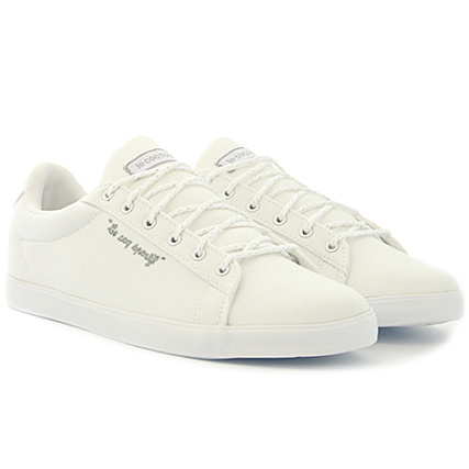 e88fdb6f9c8 Le Coq Sportif - Baskets Femme Agate Lo CVS Metallic 1810205 Optical White  Old silver - LaBoutiqueOfficielle.com