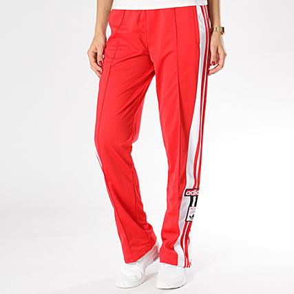 jogging adidas rouge bande blanche femme