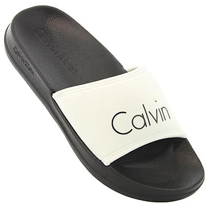 vente professionnelle prix de liquidation magasiner pour le luxe Calvin Klein - Claquettes Femme Slide 0394 Blanc Noir ...