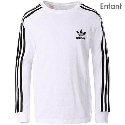 b7a1c257f1621 adidas - Tee Shirt De Sport Manches Longues Enfant California CE1070 Blanc  - LaBoutiqueOfficielle.com