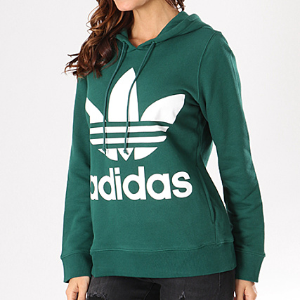 adidas - Sweat Capuche Femme Trefoil CE2412 Vert ...