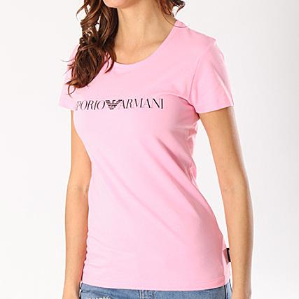 Emporio Rose 163139 8p317 Femme Noir Tee Armani Shirt Pknw0O