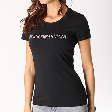 Emporio 8p317 Shirt Noir Armani Rose Tee 163139 Femme UzVqMGLpS