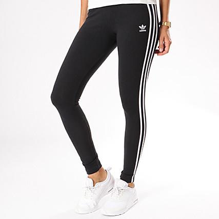 adidas Legging Femme Bandes Brodées CE2441 Noir Blanc