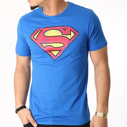 DC Comics - Tee Shirt Superman Logo Grunge Bleu Roi -  LaBoutiqueOfficielle.com 82043dee17f