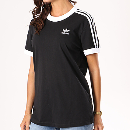 adidas Tee Shirt Femme 3 Stripes CY4751 Noir Blanc