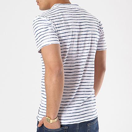 Blend Tee Shirt 20705348 Blanc Bleu Marine