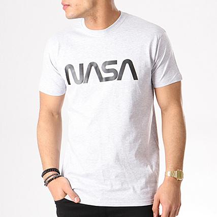 NASA Tee Shirt Worm Logo Gris Chiné